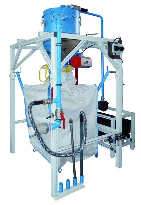 machine de transvasement pour recyclage  de poudre extinctrice